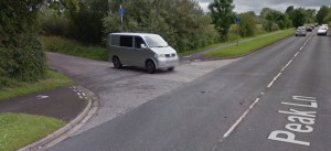 Road crossing halfway up Peak Lane. The cyclist must slow right down and give way (blind corner). Google proves here that at least somebody uses the road! [Source: Google Streetview]