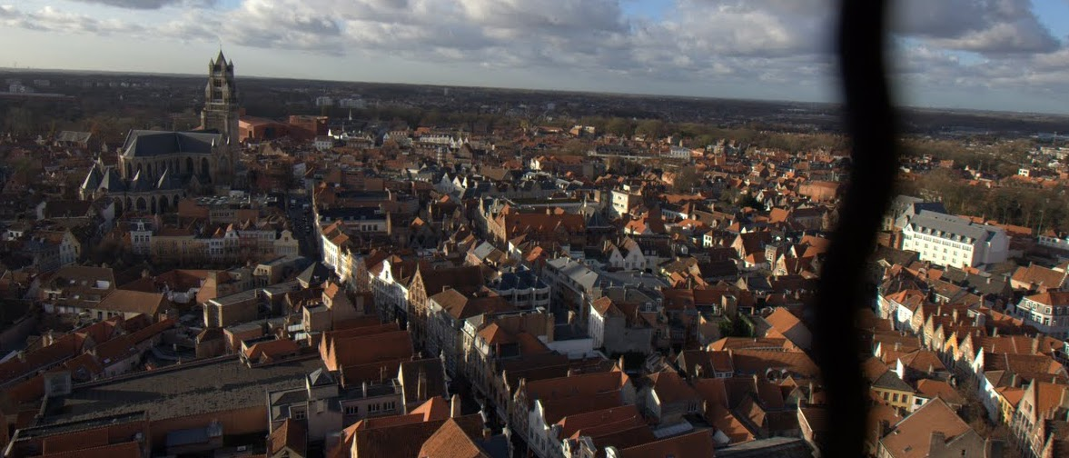 View from the top. Looking out over the city of Bruges